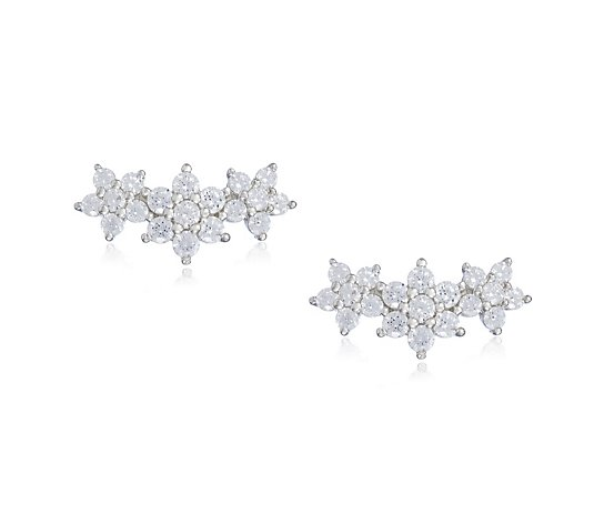 Diamonique 0.5ct tw Cluster Mini Climber Earrings Sterling Silver