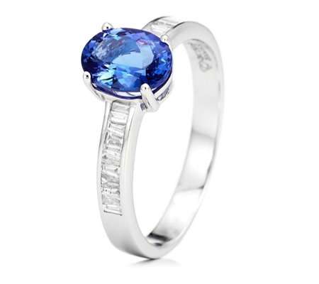 1.52ct AAA Tanzanite 0.21ct Diamond Oval Solitaire Ring 18ct Gold