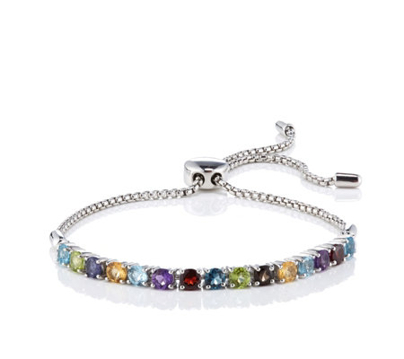 3.75ct Gemstone Friendship Slider Bracelet Sterling Silver
