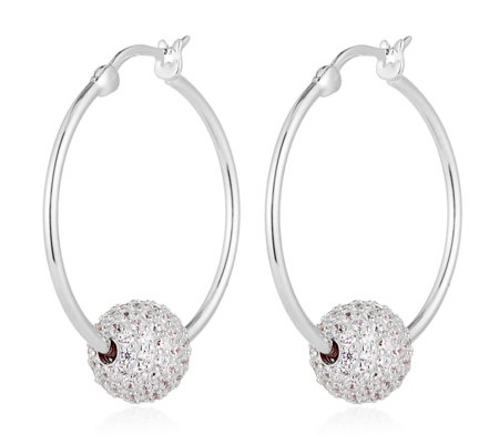 Diamonique 2.7ct tw Pave Ball Hoop Earrings Sterling Silver