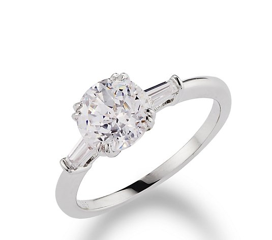Diamonique 2ct tw 100 Facet Platinum Plated Solitaire Ring Sterling Silver