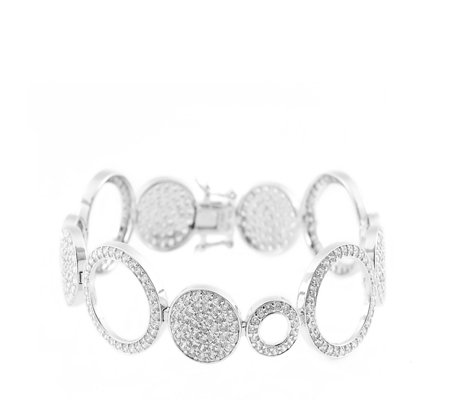 Michelle Mone for Diamonique 4ct tw Pave Disc 19cm Bracelet Sterling Silver