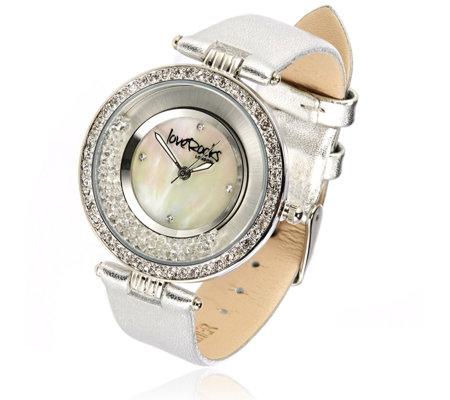 Loverocks Crystal Shaker Leather Strap Watch