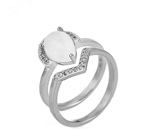 Ophia Moonstone Stack Ring Set Sterling Silver