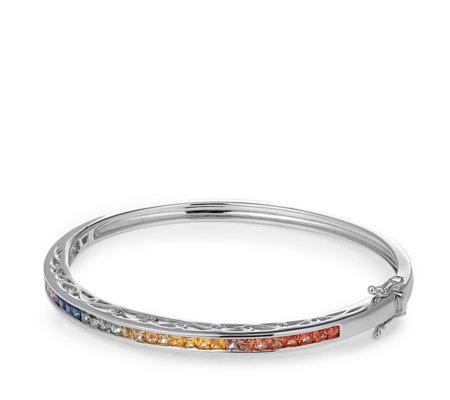 3.00ct Multi Sapphire Princess Cut Bangle Sterling Silver