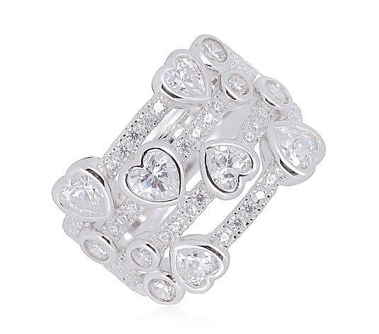 Michelle Mone for Diamonique Heart Band Ring Sterling Silver