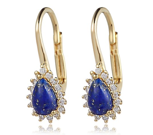 Lapis & 0.16ct Diamond Leverback Earrings Sterling Silver