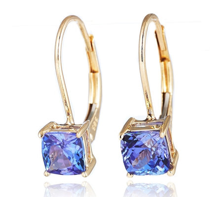 1.40ct AAA Tanzanite Cushion Solitaire Leverback Earrings 18ct Gold