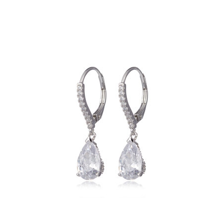 Diamonique 3.9ct tw Pear Cut Drop Earrings Sterling Silver