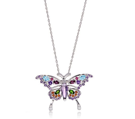 2.00ct Gemstone & Diamond Butterfly Brooch & 45cm Necklace Sterling Silver