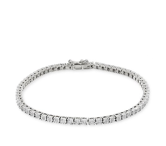 0.50ct Diamond Tennis 18cm Bracelet Sterling Silver