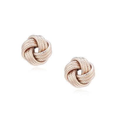 Italian Silver Love Knot Stud Earrings Sterling