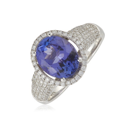 2.50ct AAAA Tanzanite & 0.47ct Diamond Oval Cut Ring 18ct Gold