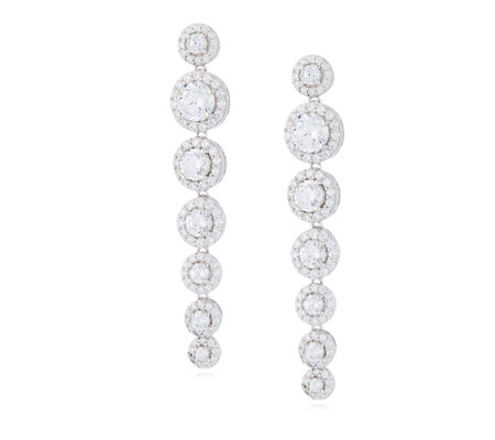 Michelle Mone for Diamonique 3.7ct tw Halo Drop Earrings Sterling Silver