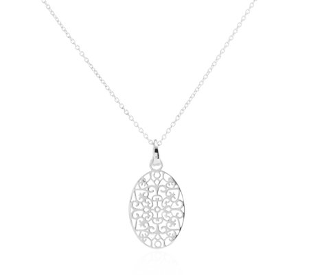 K By Kelly Hoppen Capri Filigree Disc 45cm Necklace Sterling Silver