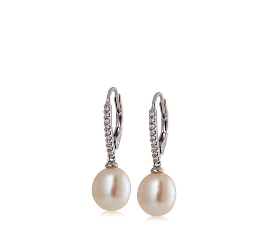 Diamonique 0.1ct tw Baroque Pearl Leverback Earrings Sterling Silver