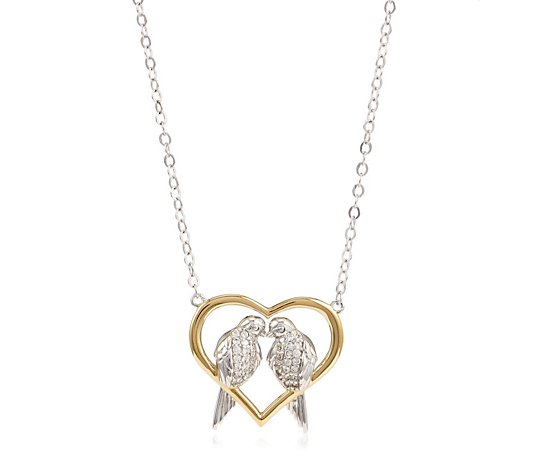 Diamonique 0.19ct tw Kissing Birds Pendant & Chain Sterling Silver