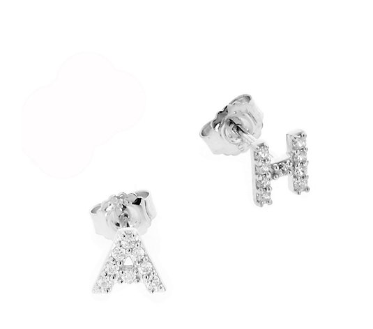 Diamonique Personalised Initial Studs Earrings Pair Sterling Silver