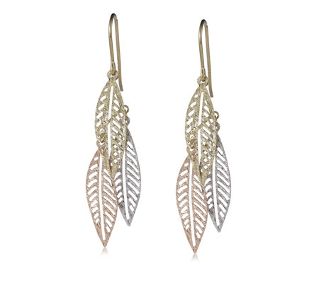 9ct Gold Diamond Cut Triple Leaf Drop Earrings