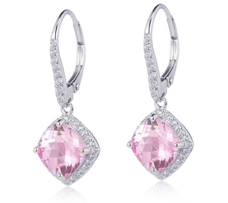 Diamonique 5.4ct tw Cushion Cut Leverback Earrings Serling Silver
