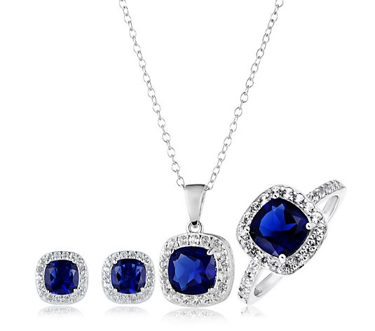 5.08ct-7.13ct Created Gemstone & Diamond Accent 3 Piece Set Sterling Silver