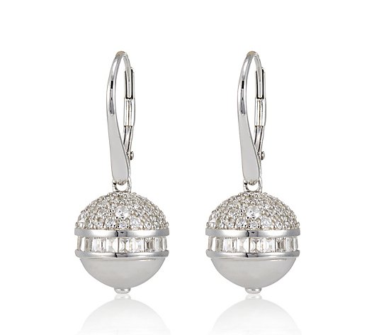 Diamonique 2.3ct tw Orb Leverback Earrings Sterling Silver