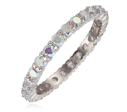 Diamonique 1.2ct tw Aurora Borealis Eternity Ring Sterling Silver