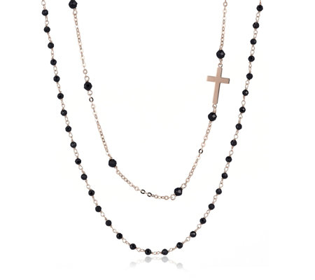 Bronzo Italia Rosary Set of 2 Gemstone 80cm Necklace