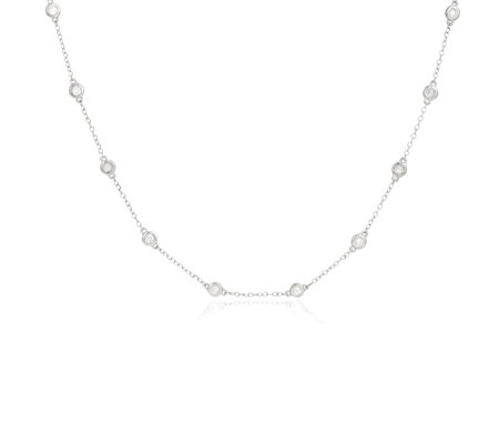 0.50ct Diamond Station 50cm Necklace 9ct Gold