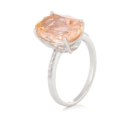 Diamonique 6.1ct tw Simulated Peach Sapphire Ring Sterling Silver