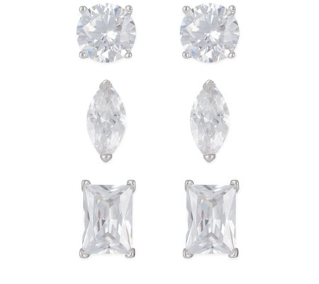 Diamonique 2ct tw Set of 3 Stud Earrings Sterling Silver