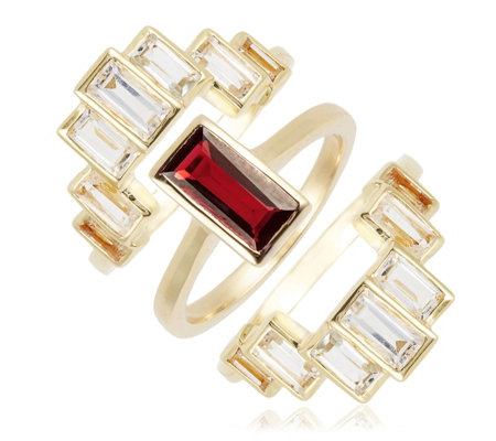 K By Kelly Hoppen Gemstone Ring with Jacket Set Sterling Silver