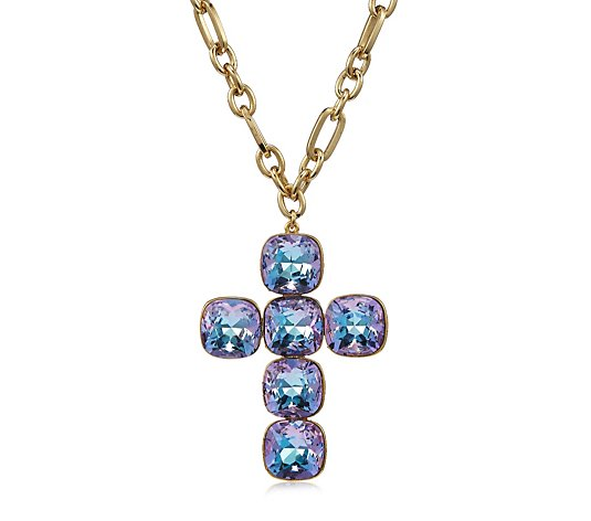 Butler & Wilson Crystal Cross Chain Necklace