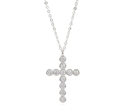 Diamonique 1ct tw Bezel Cross Pendant & 45cm Chain Sterling Silver