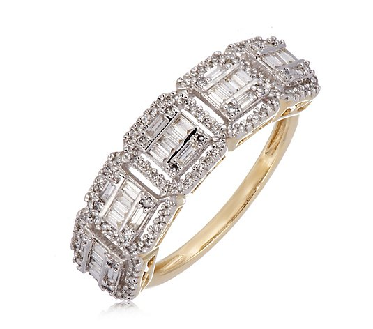 0.50ct Diamond Asscher Halo Band Ring 9ct Gold