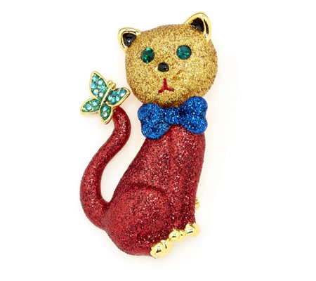 Butler & Wilson Crystal Cat Brooch