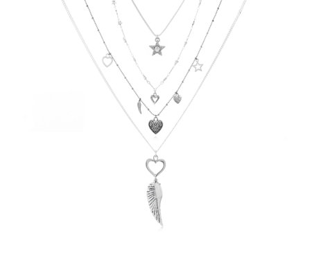 Punk Double Layer Love Heart Pendant Thick Curb Chain Choker Necklace Striking