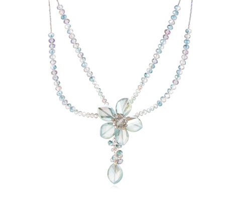 Butler & Wilson Glass Flower 39cm Necklace