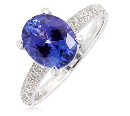 3.00ct AAAA Tanzanite & 0.28ct Diamond Pave Ring 18ct Gold