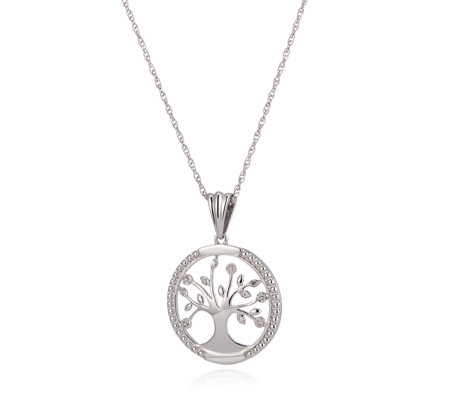 0.03ct Diamond Tree of Life Pendant & 45cm Chain Sterling Silver
