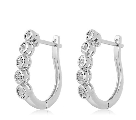 0.07ct Diamond Huggie Hoop Earrings Sterling Silver