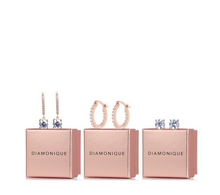 Diamonique 5.14ct tw Set of 3 Individually Boxed Earrings Sterling Silver