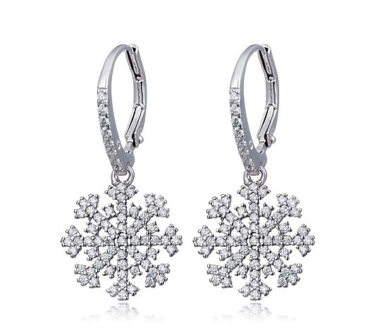 Diamonique 0.8ct tw Snowflake Leverback Earrings Sterling Silver