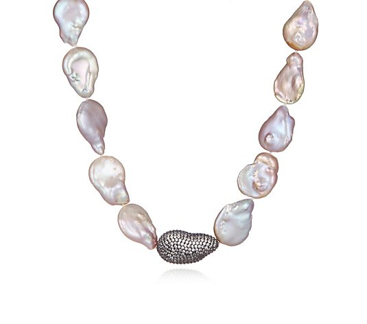 Butler & Wilson Baroque Pearl With Crystal Chunk Necklace