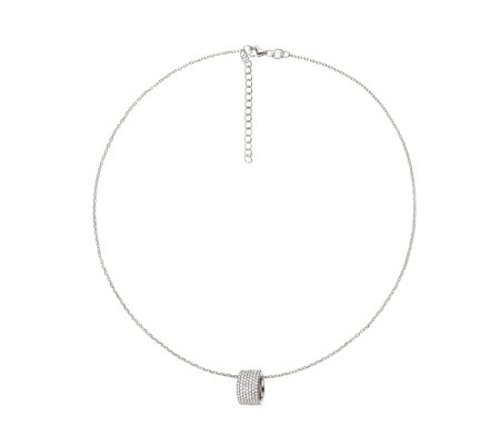Folli Follie Fashionably Silver Hoop Pendant 45cm Necklace