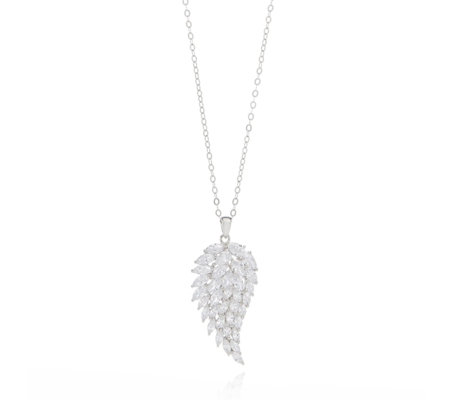 Michelle Mone for Diamonique 4ct tw Angel Wing Pendant & Chain Sterling Silver