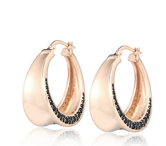 Bronzo Italia Black Spinel Pave Hoop Earrings
