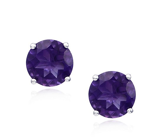 3.00 Amethyst Solitaire Stud Earrings Sterling Silver