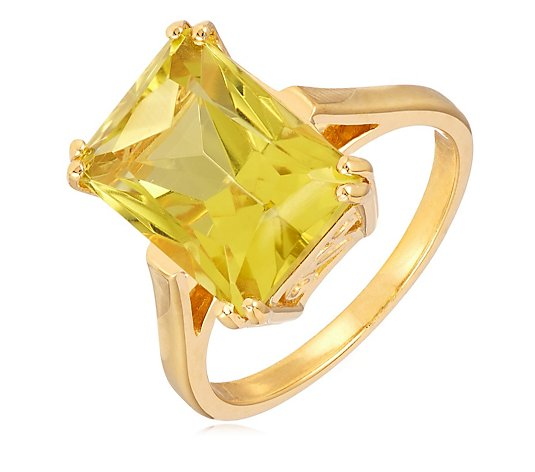 8.00ct Gemstone Octagon Radiant Cut Cocktail Ring Sterling Silver Gold Vermeil
