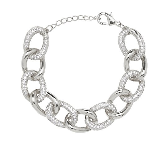 Diamonique 8ct tw Pave Chain Bracelet